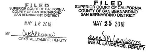 Memorial filed dates