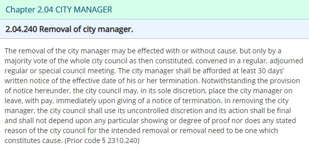 Jv Removal of city manager