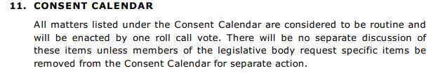 Consent Calendar