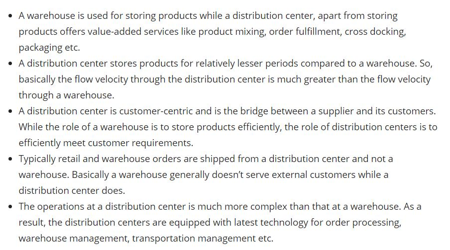 Warehouse verses Distribution Center